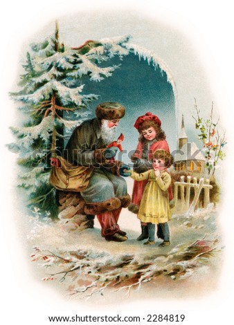 A Visit from Saint Nicholas - an early 1900's vintage greeting card illustration (see also image No. 34040)