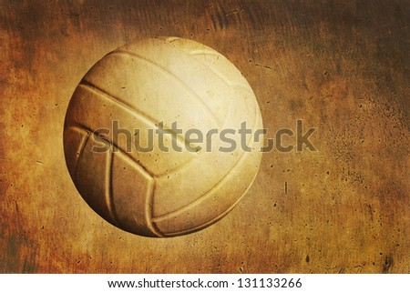 A volleyball sits on a grunge textured background