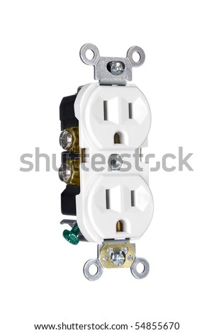 A 110 volt three pin electrical power outlet isolated on white
