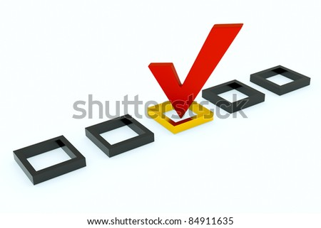 a vote mark, the right choice