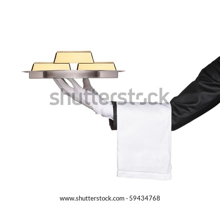 A waiter holding a tray with gold bars on it against white background