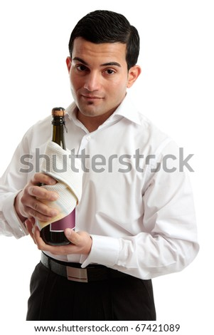 A waiter or a servant holds a bottle of wine or champagne.  White background.