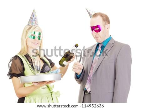 A waitress and a businessman