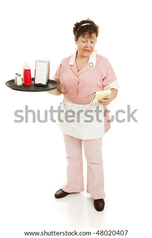 A waitress starting her shift, reading notes on her pad.  Full body isolated.