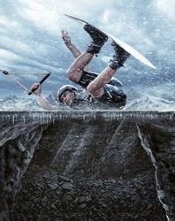A wakeboarder with winter background. Photomanipulation of Wakeboarder bouncing on the ice. Very extreme sport