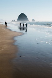 A walk on Cannon Beach with Haystack Rock