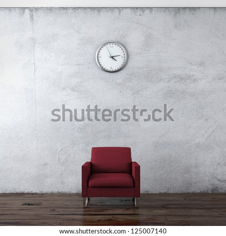 A wall clock and red chair isolated on a white background