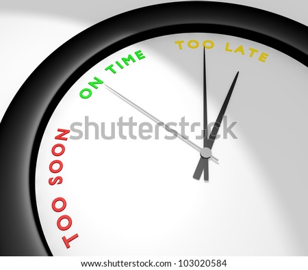A wall clock says 'too late' symbolizes a missed opportunity, a lost bargain, the chance of a lifetime... Other pics of the same set: 'too soon' and 'on time'. Computer generated image.