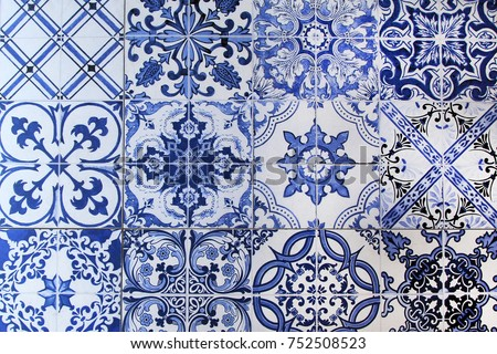 A wall from colorful ceramic tiles for background. #752508523