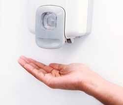 A wall mount hand pump sanitizer or  soap gel dispenser. Good hygiene very essential to prevent infectious diseases.