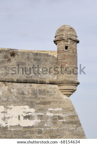 A wall of Castillo de San Marcos in Saint Augustine, Florida