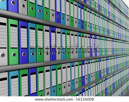 A wall of colorful files disappearing into the distance