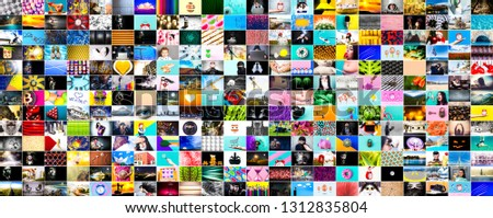 a wall of images, a collage of colorful stock photos on various topics, web background #1312835804