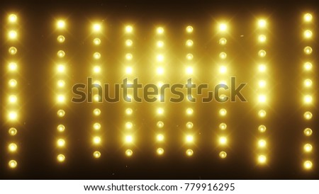 A wall of light projectors, a flash of light 3d illustration stock photo