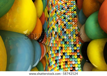 A wall of mosaic in the shape of sphere