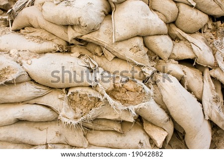 A wall of sandbags useful for background.
