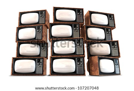 A wall of twelve old vintage tube televisions with mahogany trim and chrome dials and knobs