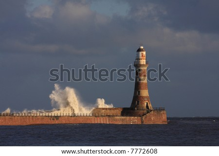 A Wall of water breaking over the pier at Roker