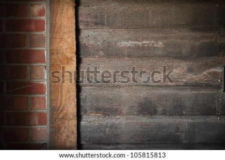 A wall that is brick and wooden in western style