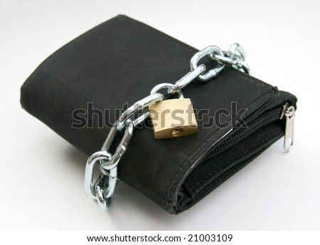 A wallet with a chain and padlock - symbolic for safety precautions on either spending money or pick-pocketing.