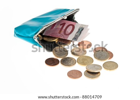 a wallet with euro banknotes and coins