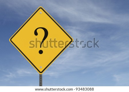 A warning sign with a question mark implying uncertainty