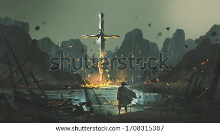 a warrior standing at the abandoned port and looking at the broken giant sword, digital art style, illustration painting Foto stock ©