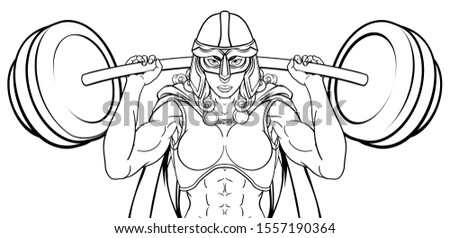 A warrior woman weightlifter lifting a heavy barbell weight. Could be a Viking, Anglo Saxon, knight or ancient Greek Trojan or Spartan sports mascot