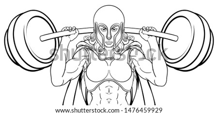 A warrior woman weightlifter lifting a heavy barbell weight. Could be an Anglo Saxon, knight or ancient Greek Trojan or Spartan sports mascot