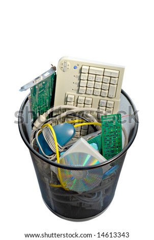 A waste basket of used computer parts ready for the trash. File has clipping path.