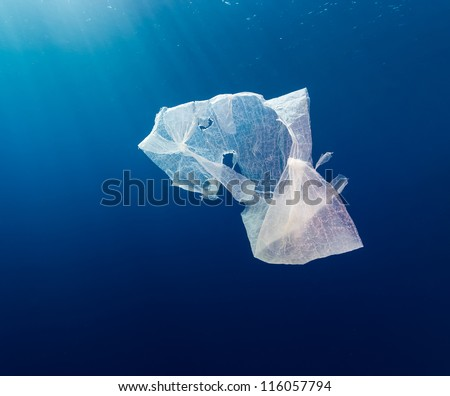 A waste plastic bag floating in deep water in open ocean with sun rays behind