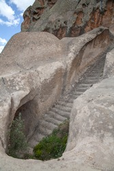 A water cistern with a steep stairway of Phrygia valley in the middle of Kutahya, Eskisehir, Afyon in Turkey.