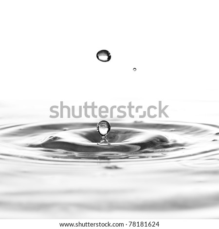 A water drop black and white background - stock photo
