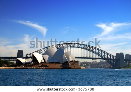A water vista of the Sydney Harbour Bridge and Sydney Opera House
