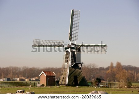 A water wind mill in the country of the Netherlands
