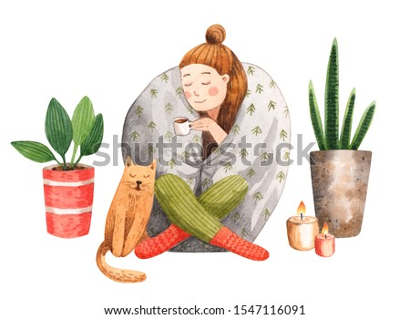 A watercolor illustration of a young woman sitting under a blanket and drinking coffee. A girl enjoying hygge lifestyle on a cold day: cat, warm drink, candles, plants.
