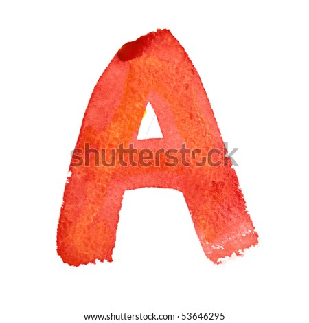 A - Watercolor letters isolated over the white background
