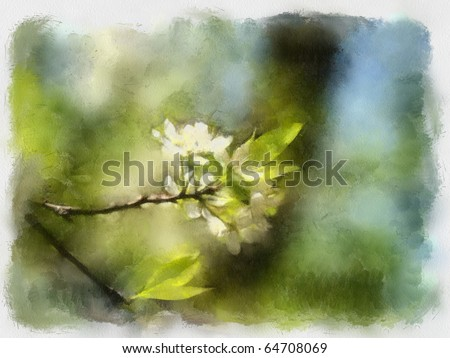 A watercolor picture of a branch of apple tree