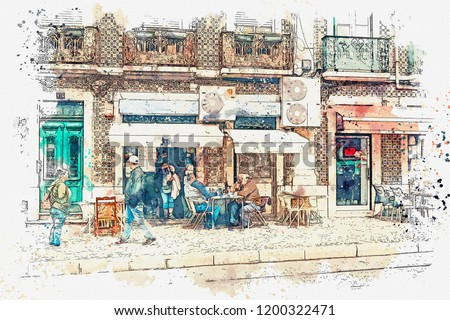 A watercolor sketch or illustration. A group of men or friends are sitting in the street next to the restaurant, drinking wine and talking. The usual urban life of local residents. Lisbon.
