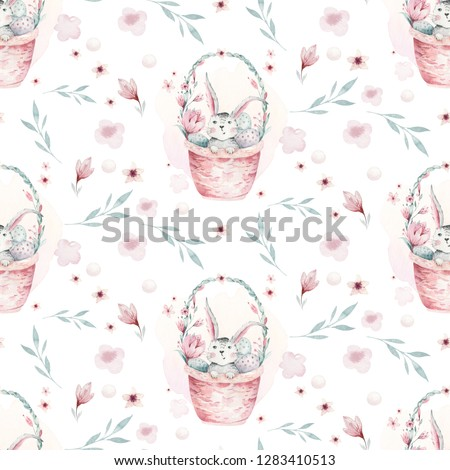 A watercolor spring illustration of the cute easter baby bunny. Rabbit cartoon animal seamless pattern with basket