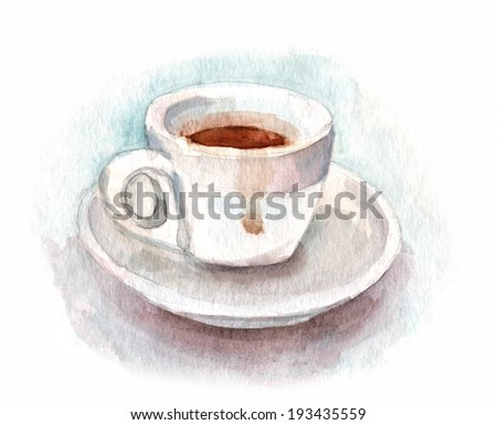 A watercolour cup of coffee against white background