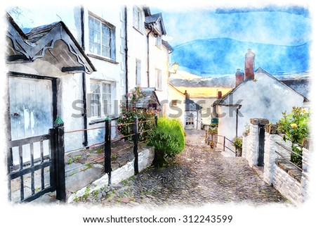A watercolour painting of narrow cobbled street lined with pretty cottages at Clovelly in north Devon Foto d'archivio ©