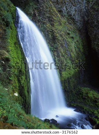A waterfall along the Columbia River Gorge Scenic Area in the Mount Hood National Forest of Oregon.