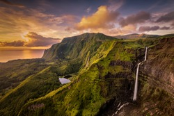 A waterfall in Flores Island, Azores