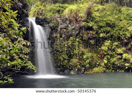 A Waterfall in Hana Highway, Maui, Hawaii
