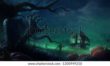 A wave of undead creatures march towards an abandoned house in the middle of the wilderness. This digital painting conveys the perfect setting for Halloween and horror themes.