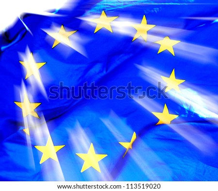 A waving European Union Flag in sunshine