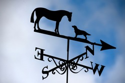 A weathercock (sign of the wind direction) with horse and dog silhouette
