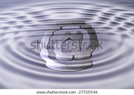 A web symbol under a water surface