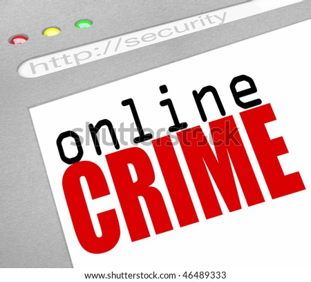 A webstie screen with the words Online Crime as a warning
